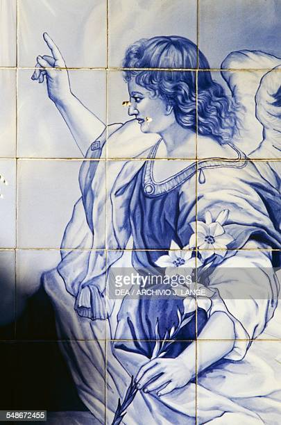 Archangel Gabriel scene of the Annunciation decoration in azulejo tiles on the steps of the Shrine of Our Lady of Remedies Lamego Norte Portugal 18th...