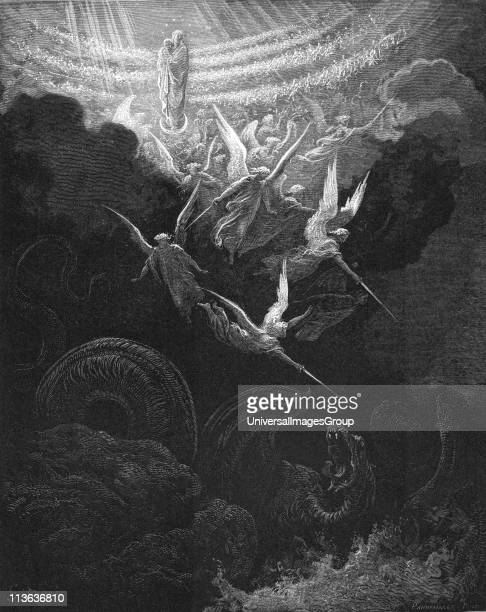 Archangel Michael and his angels fighting the dragon Virgin Mary with infant Jesus in arms looks down from Heaven Revelation 121 From Gustave Dore...