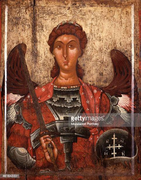 Archangel Michael by Unknown Artist from Korça tempera on wood Albania Korça National Museum of Medioeval Art Whole artwork view Icon depicting...