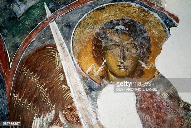 Archangel Michael fresco in a Byzantine church in the ruins of Geraki castle 13th century Mount Parnon Laconia Greece 14th15th century