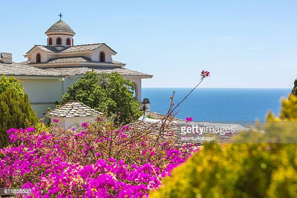 archangel michael's monastery at thassos island of kavala greece - thasos stock photos and pictures