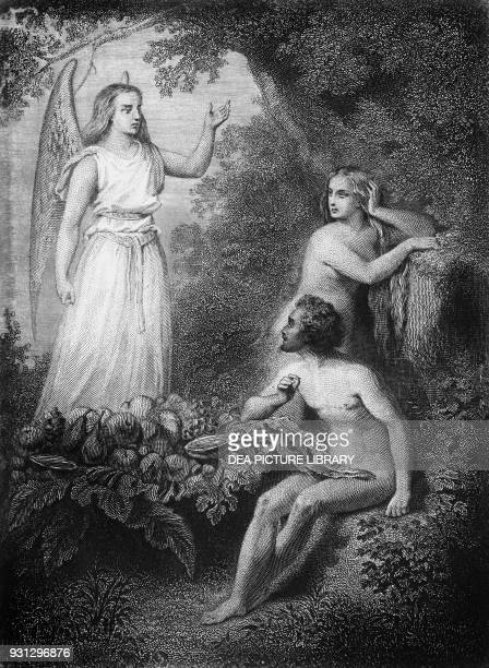 Archangel Raphael with Adam and Eve illustration for Paradise Lost epic poem by John Milton engraving by Ferdinand Delannoy after a drawing by Pierre...