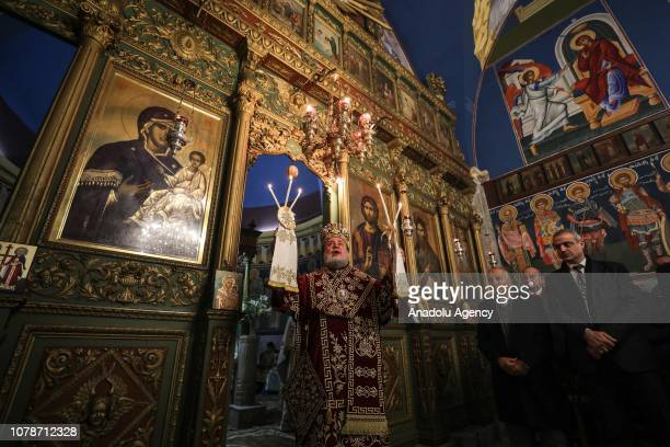 Archbishop Alexios leads an Orthodox Christmas mass held at the Saint Porphyrius Orthodox Church in Gaza City Gaza on January 7 2019