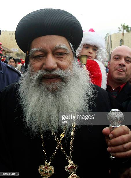 Archbishop Anba Abraham the Coptic Orthodox Metropolitan Archbishop of Jerusalem arrives at the Church of the Nativity accepted by Christians as the...