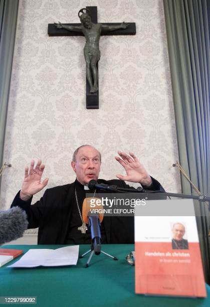 Archbishop AndreJoseph Leonard gestures during the official presentation of his book Handelen als christen or Acting as a Christian at the...