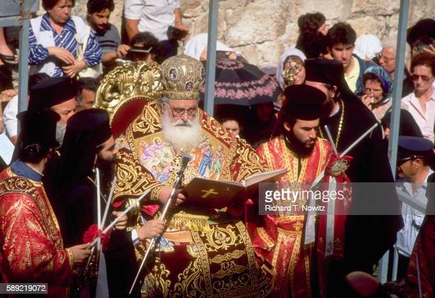 archbishop at easter foot washing ceremony - greek orthodox easter stock pictures, royalty-free photos & images