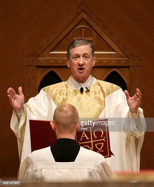 Archbishop Blase Cupich reads from the cathedra after his installation Mass at Holy Name Cathedral on November 18 2014 in Chicago Cupich was named in...