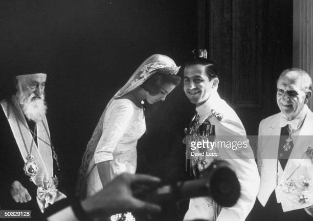 Archbishop Chrysostomos, King Constantine and wife, Princess Anne Marie of Denmark, and Prime Min. George Papandreou, during wedding.