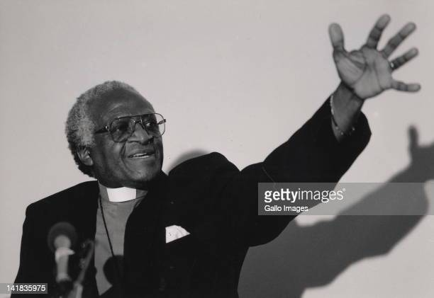 Archbishop Desmond Tutu addressing a Human Rights Violation Committee meeting where new appointees were announced