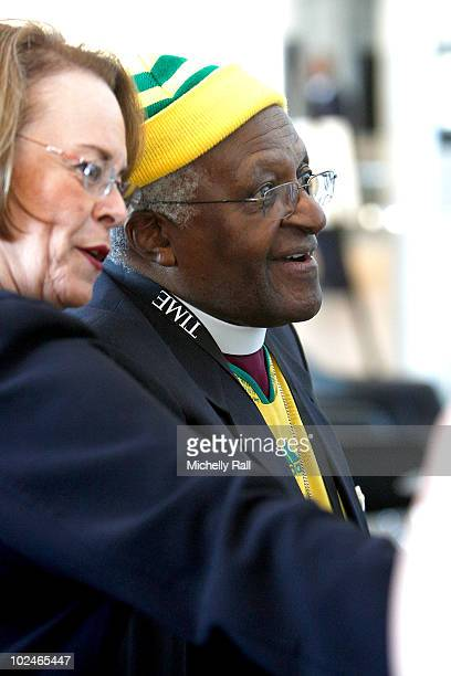 Archbishop Desmond Tutu and Ann Moore CEO Time Inc attend the TIME/FORTUNE/CNN Global Forum at the Cape Town International Convention Centre on June...