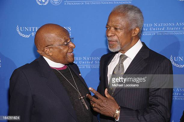 Archbishop Desmond Tutu and Former Secretary General of the United Nations Kofi Annan attend the 2012 Global Leadership Awards Dinner at Cipriani...