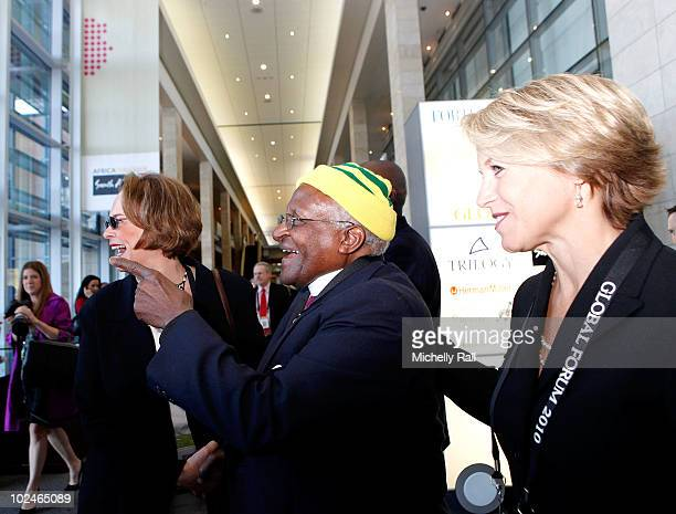 Archbishop Desmond Tutu , Ann Moore CEO Time Inc and Katie Couric Anchor CBS News attend the TIME/FORTUNE/CNN Global Forum at the Cape Town...