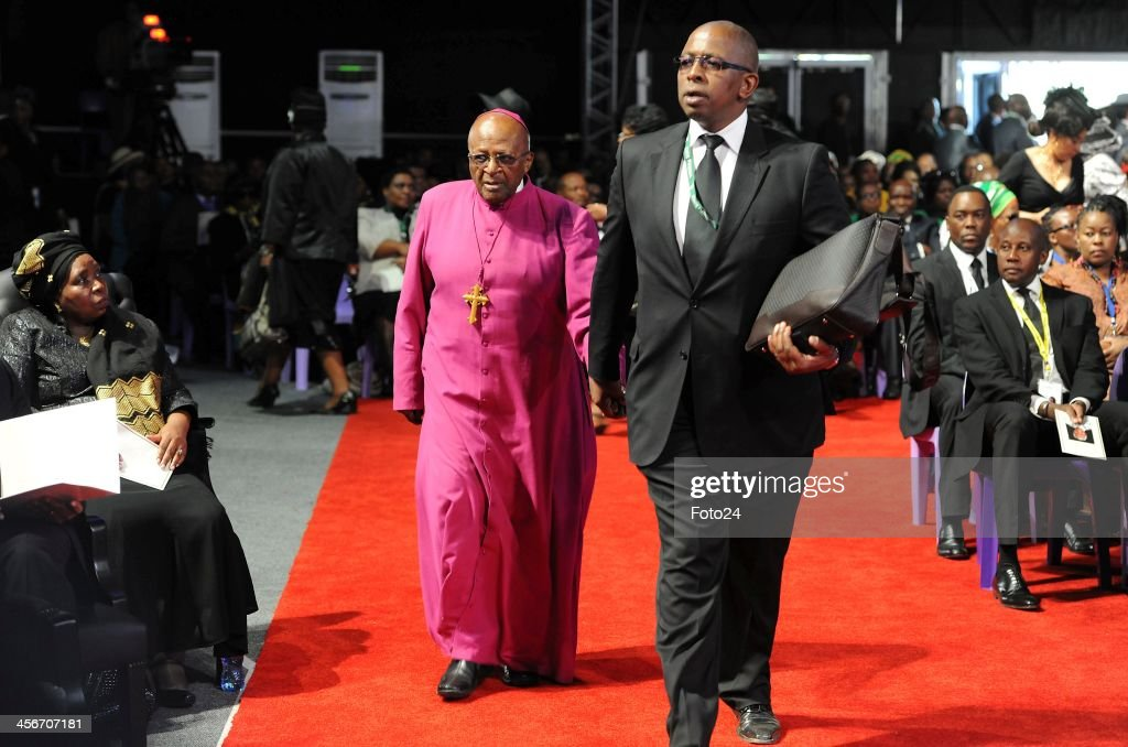 Archbishop Desmond Tutu arrives for Madiba's State Funeral on December 15, 2013 in Qunu, South Africa. Nelson Mandela passed away on the evening of December 5, 2013 at his home. He is laid to rest at his homestead in Qunu during a State Funeral.