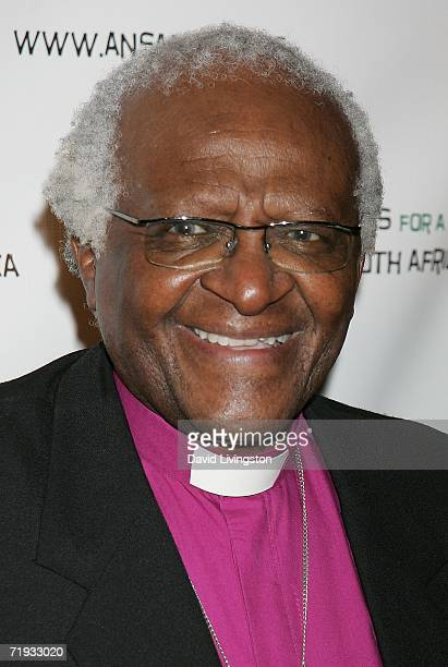 Archbishop Desmond Tutu attends a gala fundraiser in celebration of his 75th birthday hosted by Artists for a New South Africa at the Regent Beverly...