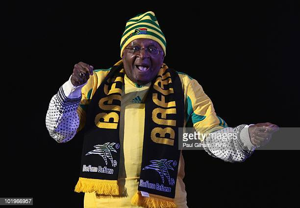 Archbishop Desmond Tutu delivers a speech on stage at the FIFA World Cup Kickoff Celebration Concert at the Orlando Stadium on June 10 2010 in Soweto...