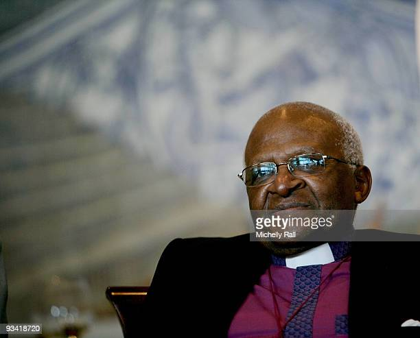 Archbishop Desmond Tutu Nobel Peace Prize Laureate attends the Majesties Queen Sonja and King Harald V of Norway's luncheon during there State Visit...