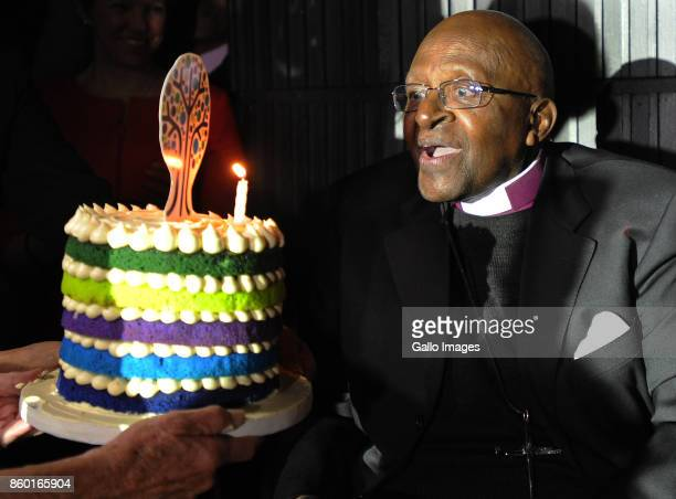Archbishop Desmond Tutu presented with a birthday cake at the Annual Desmond Tutu International Peace Lecture at the Artscape Theatre on October 09...