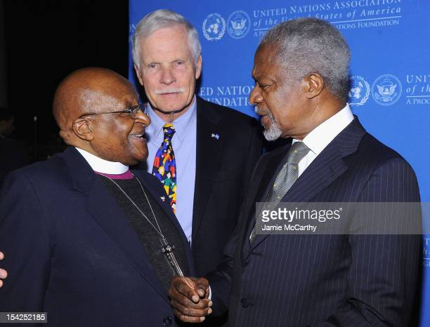 Archbishop Desmond Tutu Ted Turner and former Secretary General of the United Nations Kofi Annan attend the 2012 Global Leadership Awards Dinner at...