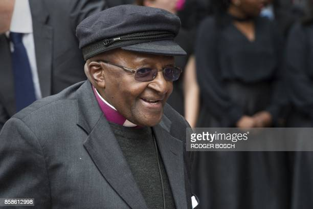 Archbishop Emeritus and Nobel Peace Prize 1984 Desmond Tutu arrives at the unveiling of the Arch for the Arch as part of his 86th birthday...
