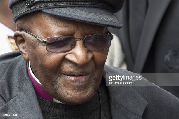 Archbishop Emeritus and Nobel Peace Prize 1984 Desmond Tutu leaves the unveiling of the Arch for the Arch as part of his 86th birthday celebrations...