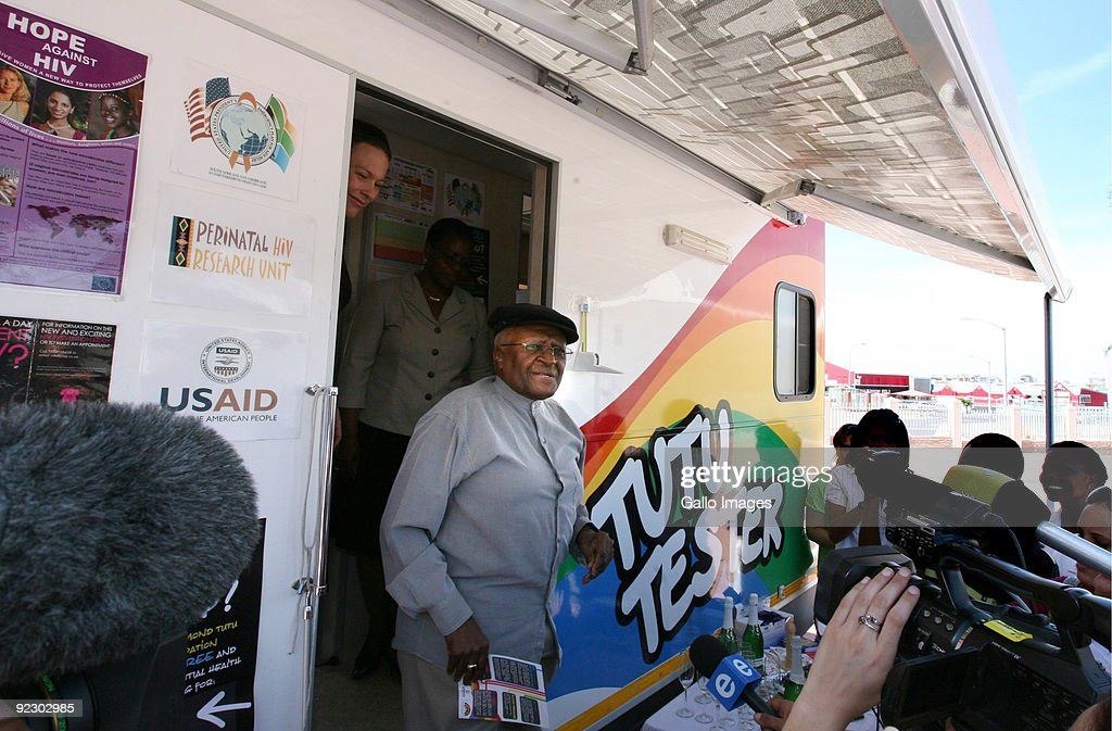 Archbishop Emeritus Desmond Tutu attends the launch of his new HIV mobile clinic, the 'Tutu Tester' at Milnerton on October 22, 2009 in Cape Town, South Africa. The 'Tutu Tester' provides diabetes and HIV testing as well as counselling.