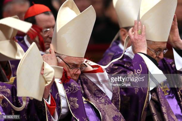 Archbishop emeritus of Boston Cardinal Bernard Law attends the Ash Wednesday service held by Pope Benedict XVI at St Peter's Basilica on February 13...