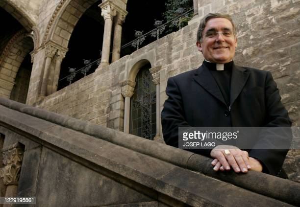 Archbishop Lluis Martinez Sistach of Barcelona poses for photographers after being promoted to Cardinal under Pope Benedict at the cathedral of...