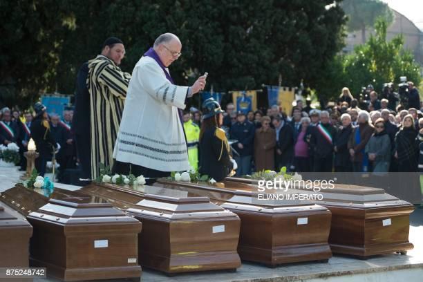 Archbishop Luigi Moretti and Imam Abderrhmane Es Sbaa lead the inter religious funeral service for 26 teenage migrant girls found dead in the...
