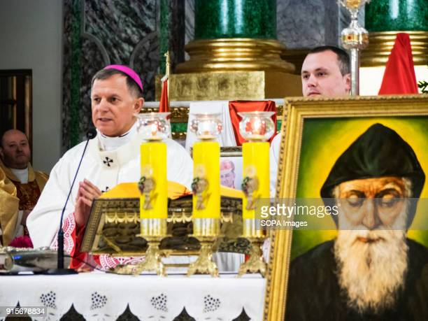 Archbishop Mechislav Mokshinsky the Metropolitan of Lviv and the Head of the Conference of the Roman Catholic Bishops in Ukraine holds a divine...