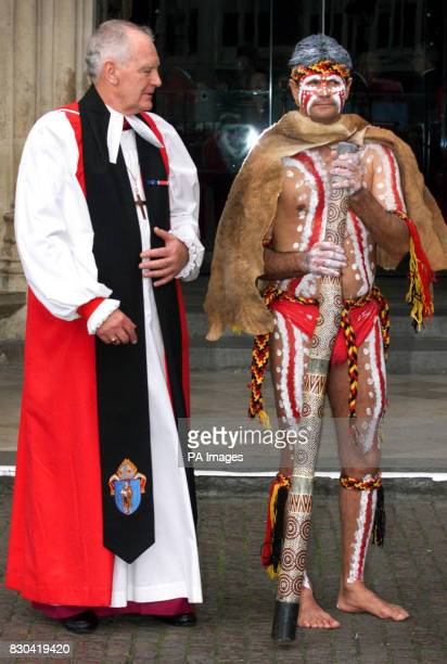 Archbishop of Brisbane with Richard Walley of the Myoongar Biddenjarreb Tribe outside Westminster Abbey after a service to mark the centenary of...