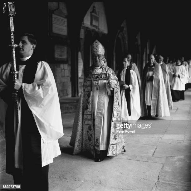 Archbishop of Canterbury Geoffrey Fisher conducts his last service at Canterbury Cathedral UK 28th May 1961