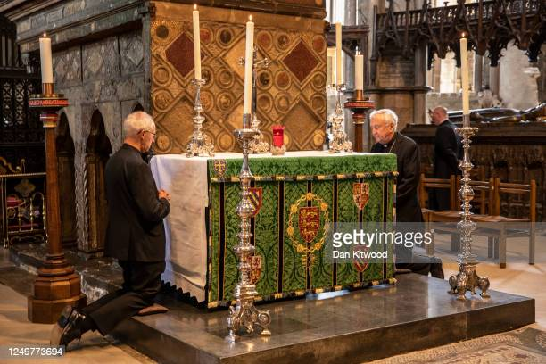 Archbishop of Canterbury Justin Welby, and Archbishop of Westminster, Vincent Nichols take part in a private prayer in the shrine of Edward the...