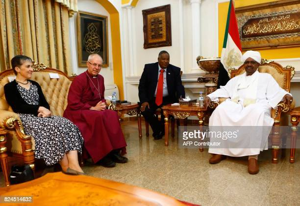 Archbishop of Canterbury, Justin Welby and his wife Caroline meet with Sudanese President Omar al-Bashir in Khartoum on July 30, 2017. Welby declared...