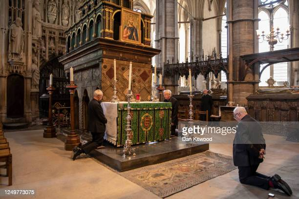 Archbishop of Canterbury Justin Welby, Archbishop of Westminster, Vincent Nichols and Dean of Westminster David Hoyle take part in a private prayer...