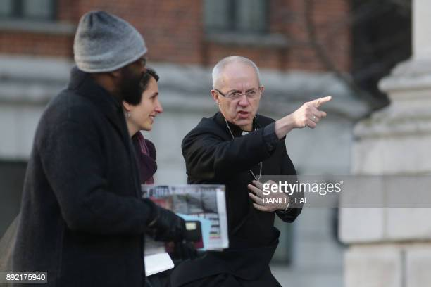 Archbishop of Canterbury Justin Welby arrives at St Paul's cathedral for a Grenfell Tower National Memorial service on December 14 2017 in central...