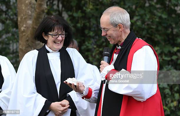 Archbishop of Canterbury Justin Welby presents Dean of Auckland Jo KellyMoore with a piece of Canterbury after he unveiled a foundation stone during...