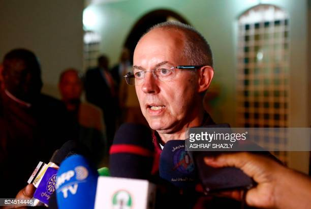 Archbishop of Canterbury Justin Welby speaks to the press after meeting with the Sudanese president in Khartoum on July 30, 2017. - Welby declared...