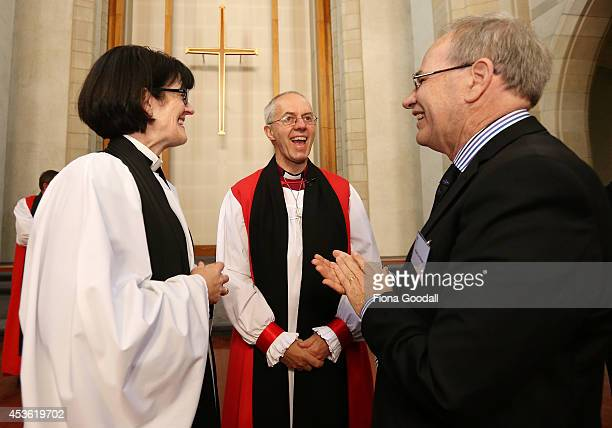 Archbishop of Canterbury Justin Welby speaks with Auckland Mayor Len Brown and Dean of Auckland Jo KellyMoore after he unveiled a foundation stone...