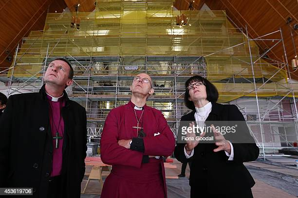 Archbishop of Canterbury Justin Welby tours the Holy Trinity Cathedral refurbishments with Dean of Auckland Jo KellyMoore and Bishop of Auckland Ross...