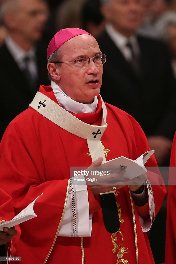 Archbishop of Gorizia (Italy) Roberto Maria Redaelli attends the mass and imposition of the Pallium upon the new metropolitan archbishops held by Pope Francis for the Solemnity of Saint Peter and Paul at Vatican Basilica on June 29, 2013 in Vatican City, Vatican. Pope Francis delivered the homily at Mass in St Peter's Basilica on Saturday morning, to mark the Solemnity of Saints Peter and Paul, Apostles and Patrons fo the city of Rome. In his remarks following the Gospel reading, the Holy Father focused on a particular task of the Petrine ministry, which is to strengthen, or confirm, all the faithful.