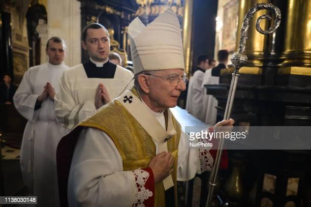 Archbishop of Krakow Marek Jedraszewski during the celebrations of the Holy Thursday mass in Wawel Royal Cathedral in Krakow Mateusz Morawiecki Prime...