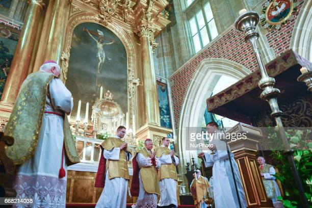 Archbishop of Krakow Marek Jedraszewski during the celebrations of the Holy Thursday mass in Wawel Royal Cathedral in Krakow On Thursday April 13 in...