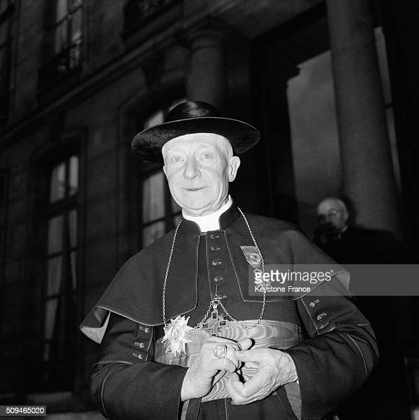 Archbishop Of Lille Cardinal Achille Lienart Leaving the Elysée Presidential Palace After He Received From The General De Gaulle The Badge Of the...