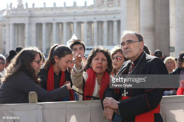 Archbishop of Lyon cardinal Philippe Barbarin greets his diocesans before the Pope Francis' weekly audience in St Peter's Square on April 26 2017 in...