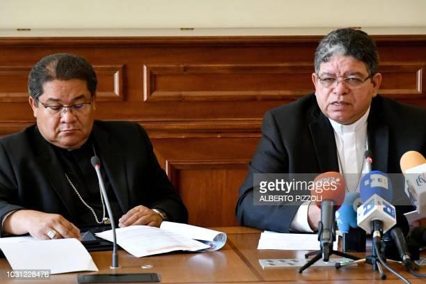 Archbishop of Maracaibo and president of the Venezuelan Episcopal Conference Jose Luis Azuaje Ayala and Secretary of the Venezuelan Episcopal...