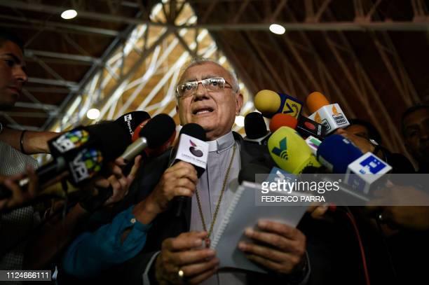 Archbishop of Merida cardinal Baltazar Enrique Porras Cardozo offers a press conference at El Rosal church in Caracas on February 13 2019 Venezuela's...