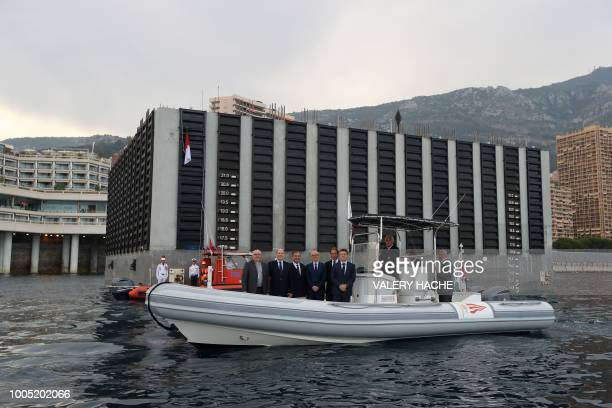 Archbishop of Monaco Bernard Barsi Monaco's Prince Albert Martin Bouygues Monaco Minister of State Serge Telle Andre Casiraghi and Head of SAM L'Anse...