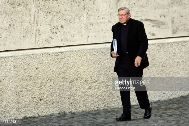 Archbishop of Sydney Cardinal George Pell arrives at the Paul VI Hall for the Extraordinary Consistory on the themes of Family on February 21 2014 in...