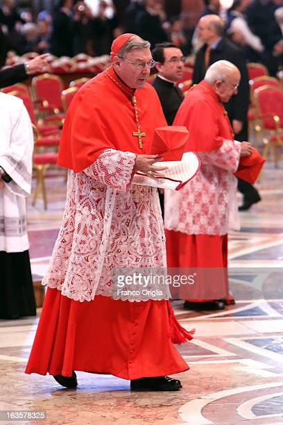 Archbishop of Sydney Cardinal George Pell attends the Pro Eligendo Romano Pontifice Mass at St Peter's Basilica before they enter the conclave to...