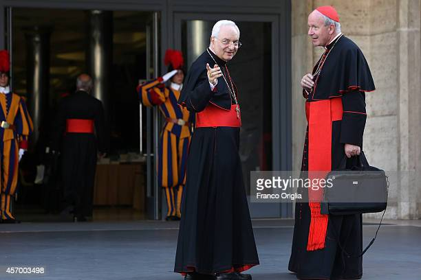 Archbishop of Vienna cardinal Christoph Schonborn and Cardinal Mauro Piacenza arrive at the Synod Hall for the fifth day of the Synod on the themes...